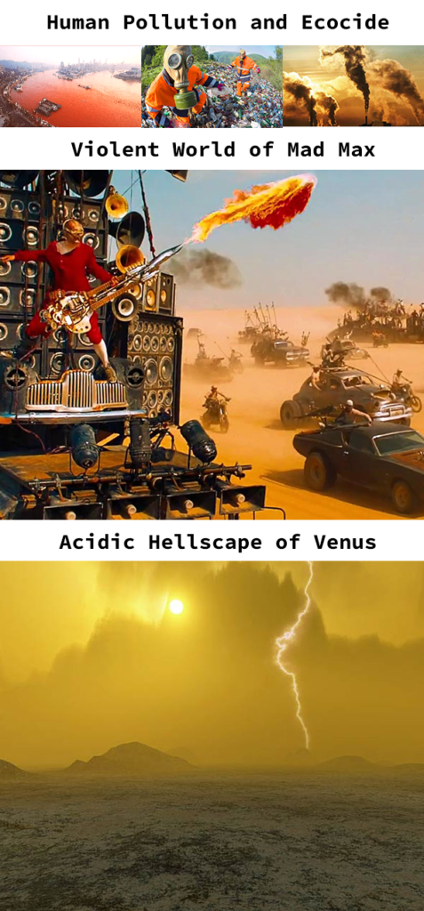 Stages of Global Ecocide: Human Pollution leads to the world of Mad Max and then to the deserted hellscape of the planet Venus.